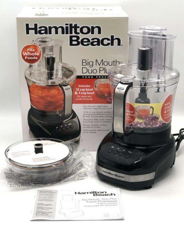 Hamilton Beach Big Mouth Duo Plus 12 Cup Food Processor 2 Mixing Bowls 70580 Blk Hamilton Beach Food Processor Food Processor Recipes Big Mouth