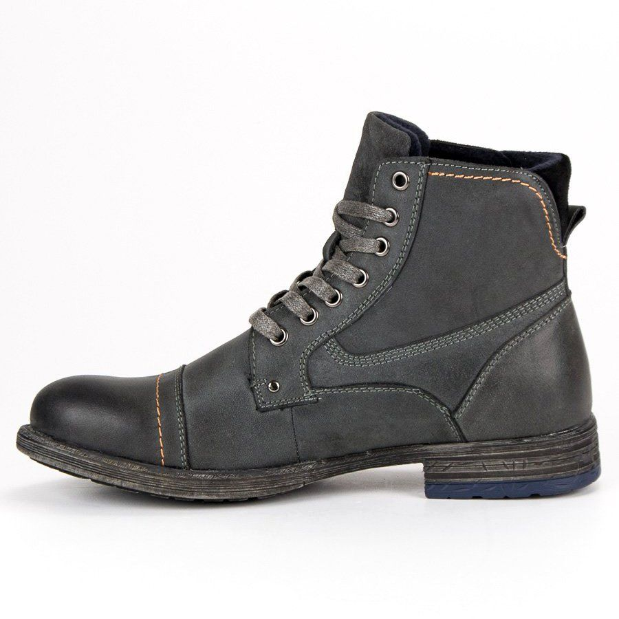 Trekkingowe Meskie Originalwalkmanshoes Original Walkman Shoes Szare Wiazane Botki