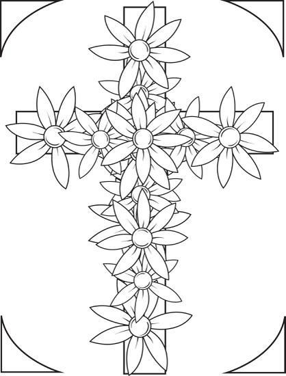 Free Printable Cross With Flowers Coloring Page For Kids Wallpaper Flower Coloring Pages Cross Coloring Page Free Printable Coloring Pages