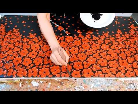 How to paint cherry blossom tree with acrylic textured demo