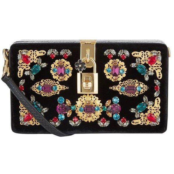 69245f678aea Dolce   Gabbana Embellished Velvet and Snakeskin Box clutch ( 3