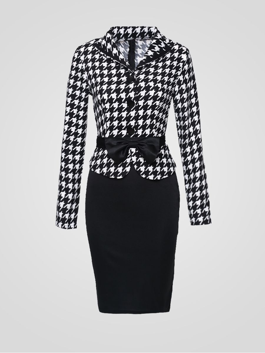 Fabulous Houndstooth Fake Two-piece Bodycon-dress