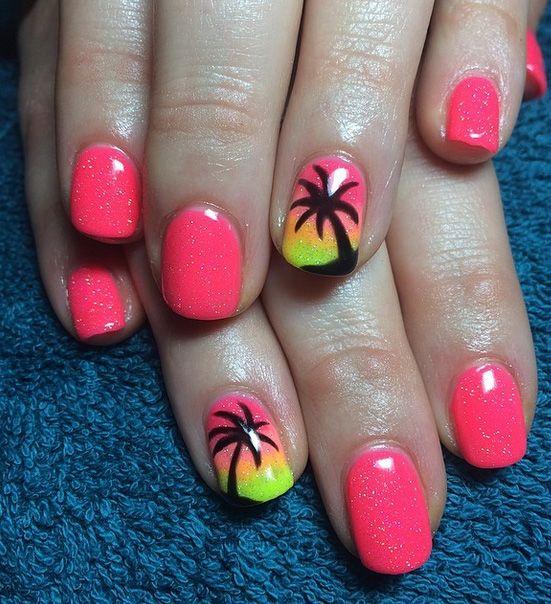 Easy And Cute Summer Nail Art Ideas 5waysto Net Palm Tree Nails Nail Designs Cute Summer Nails