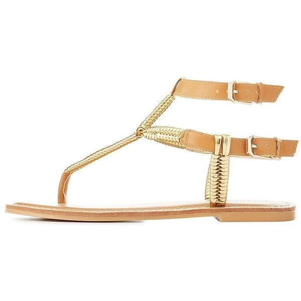 Charlotte Russe Metallic T-Strap Sandals ($13) ❤ liked on Polyvore featuring shoes, sandals, nude, nude shoes, woven sandals, nude sandals, braided t-strap sandals and metallic flat shoes