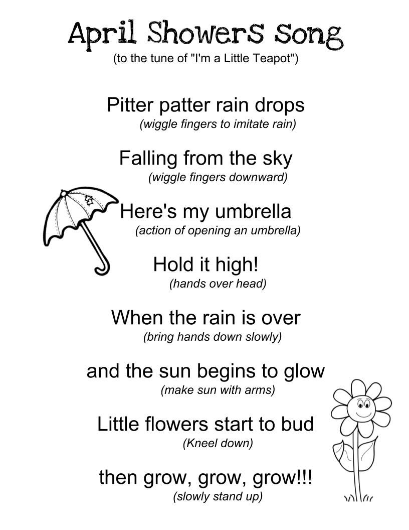 April Showers Song | April showers song, April lesson
