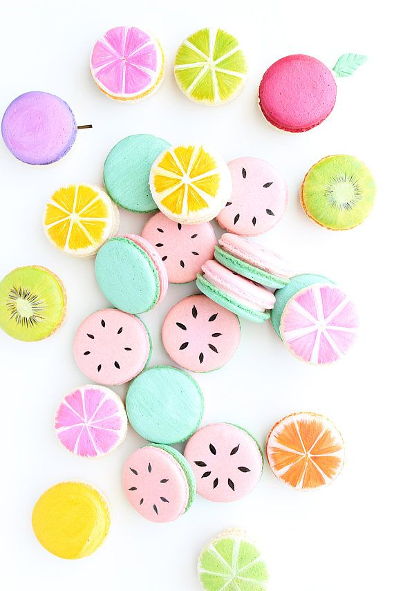12 Macarons, French Macarons, Fruit Macarons by Sweets illustrated in Tampa, FL.