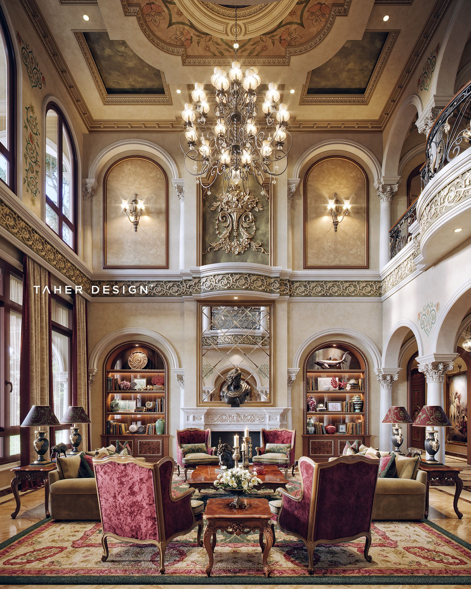 Home Decor 2012 Luxury Homes Interior Decoration Living: Grand Living Room Design For Luxury Mansion Located In