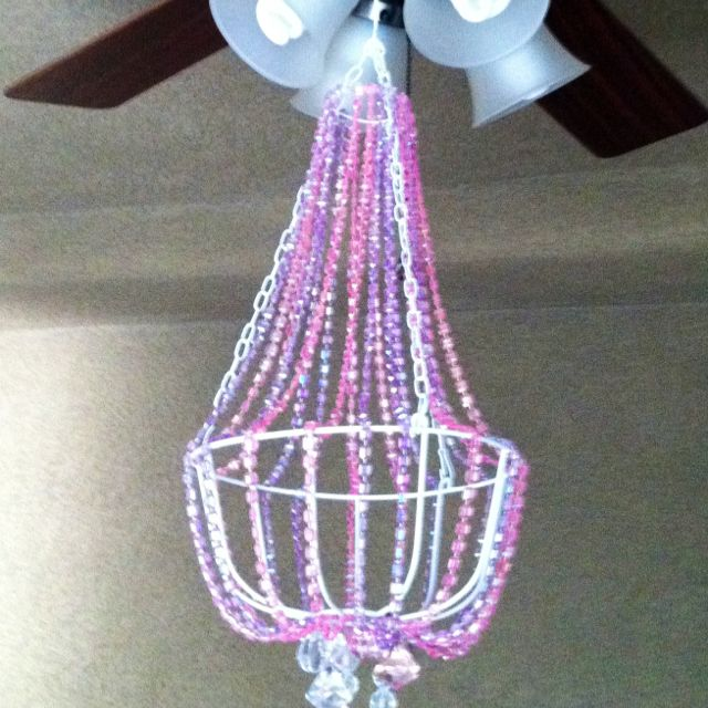 Fake chandelier made from a hanging pot holder wire hanger and fake chandelier made from a hanging pot holder wire hanger and beads from and old aloadofball
