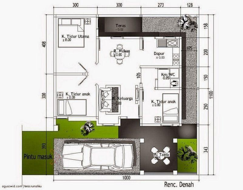 denah rumah 3 kamar 10x10