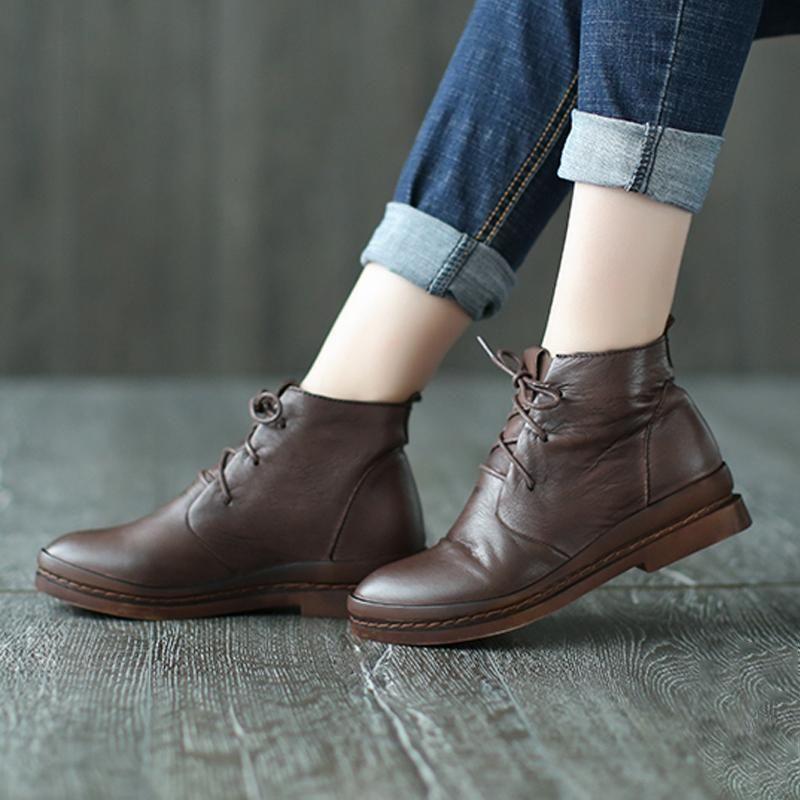 c77de1e87f504 vtg 80s LACE UP brown leather Ankle BOOTS flats 8/8.5 boho oxfords ...