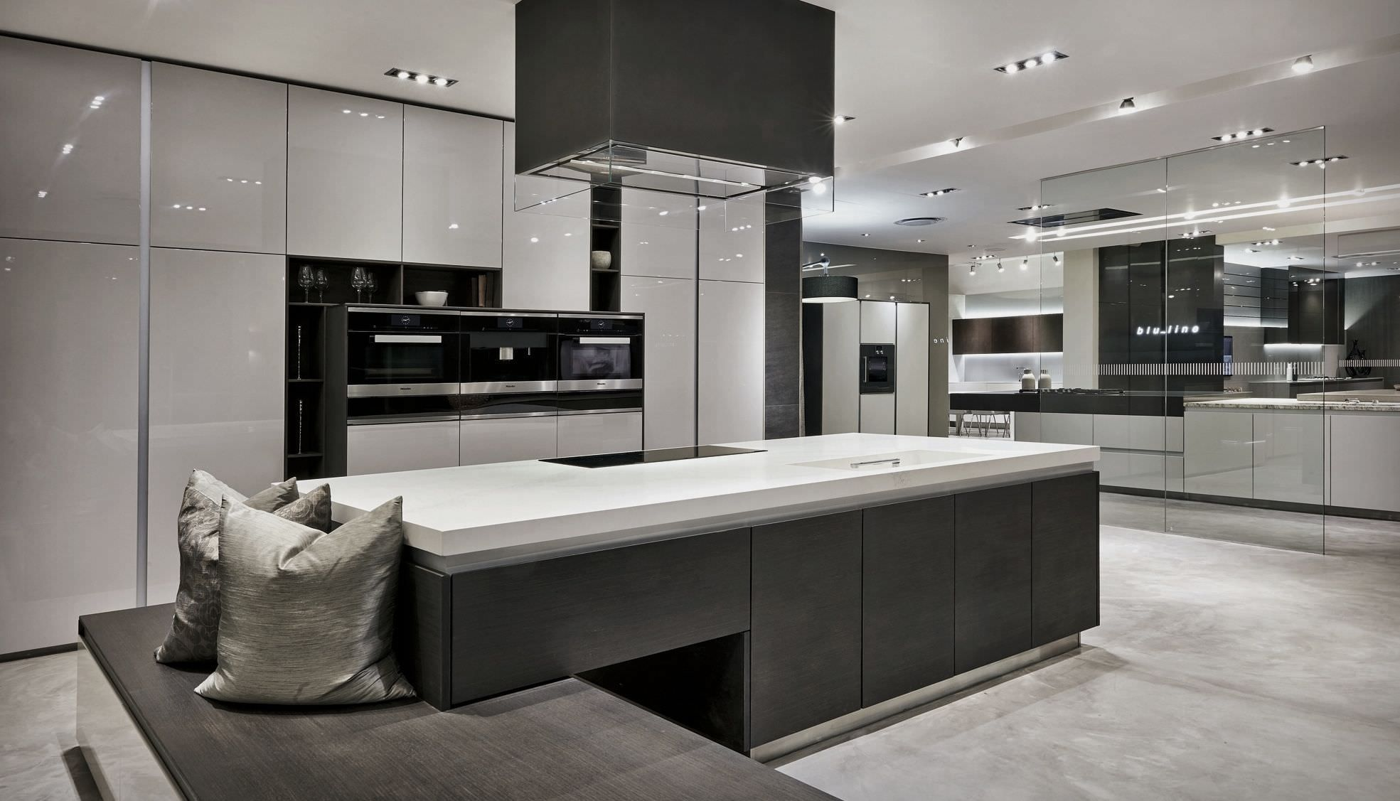 Luxury kitchen showroom project grey pinterest for Kitchen showrooms