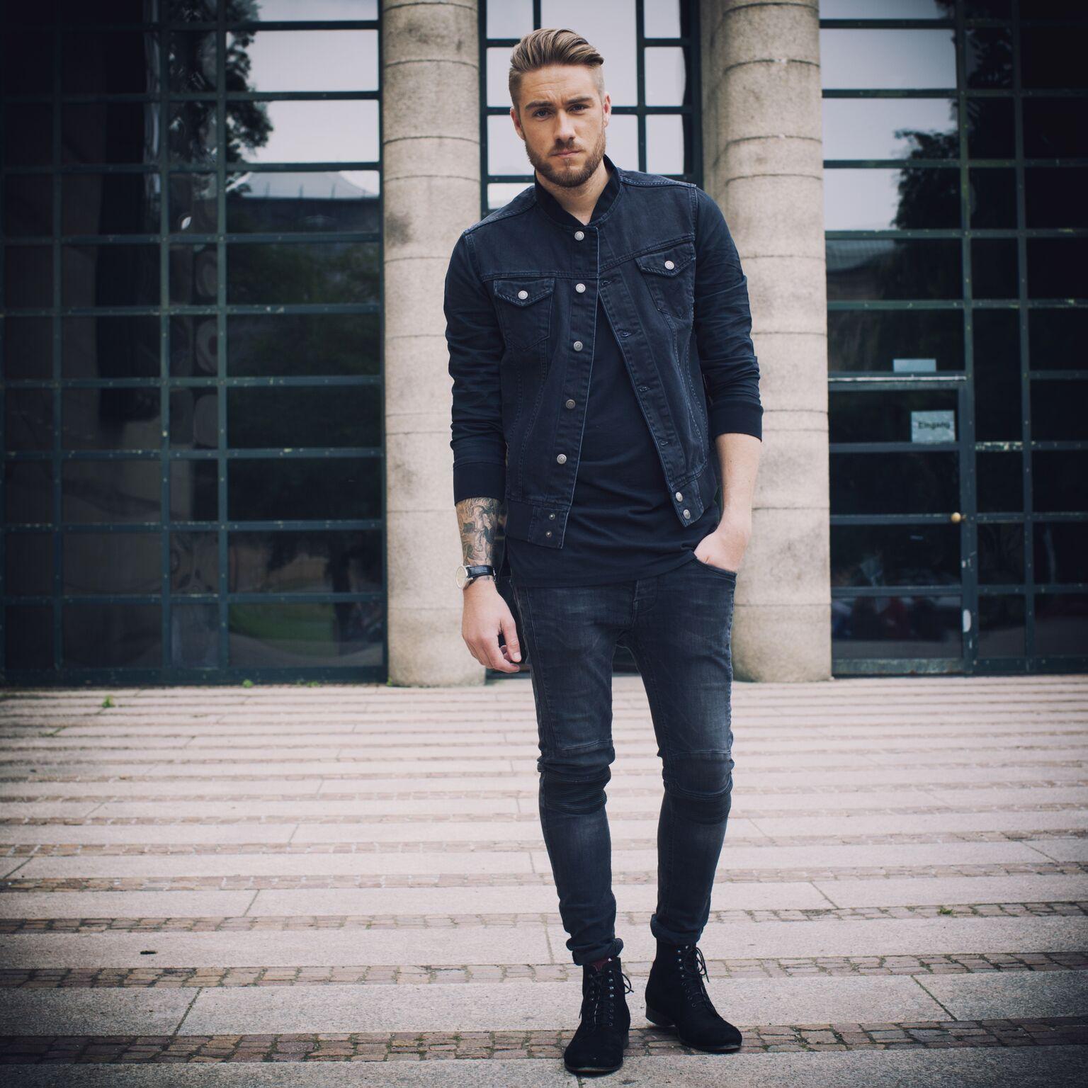 Black t shirt with dark blue jeans - Streetstyle Denim Bomber Jacket In Dark Denim Black Crew Neck T Shirt