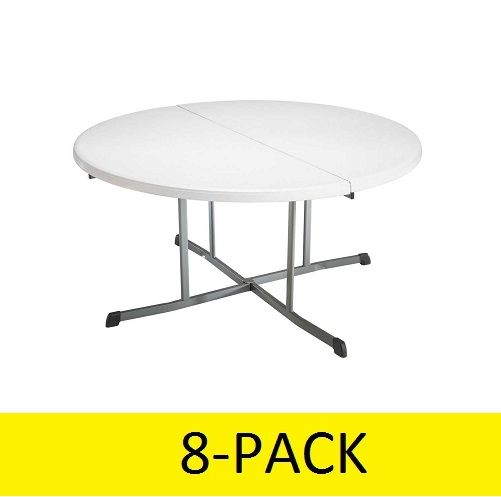 Lifetime Round Tables 5402 60 Inch White Granite Fold In