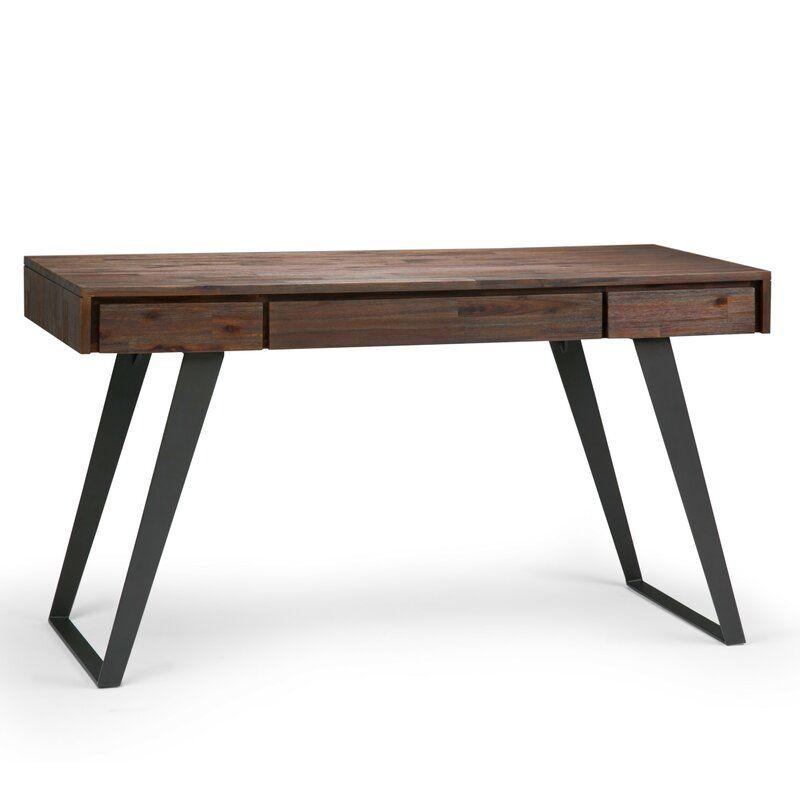 Elle Solid Wood Desk Reviews Allmodern Acacia Wood Desk Solid Wood Writing Desk Desk With Keyboard Tray