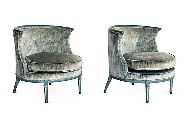 Exceptional DYING Over These Vintage Blue Circular Chairs, Pair On OneKingsLane.com