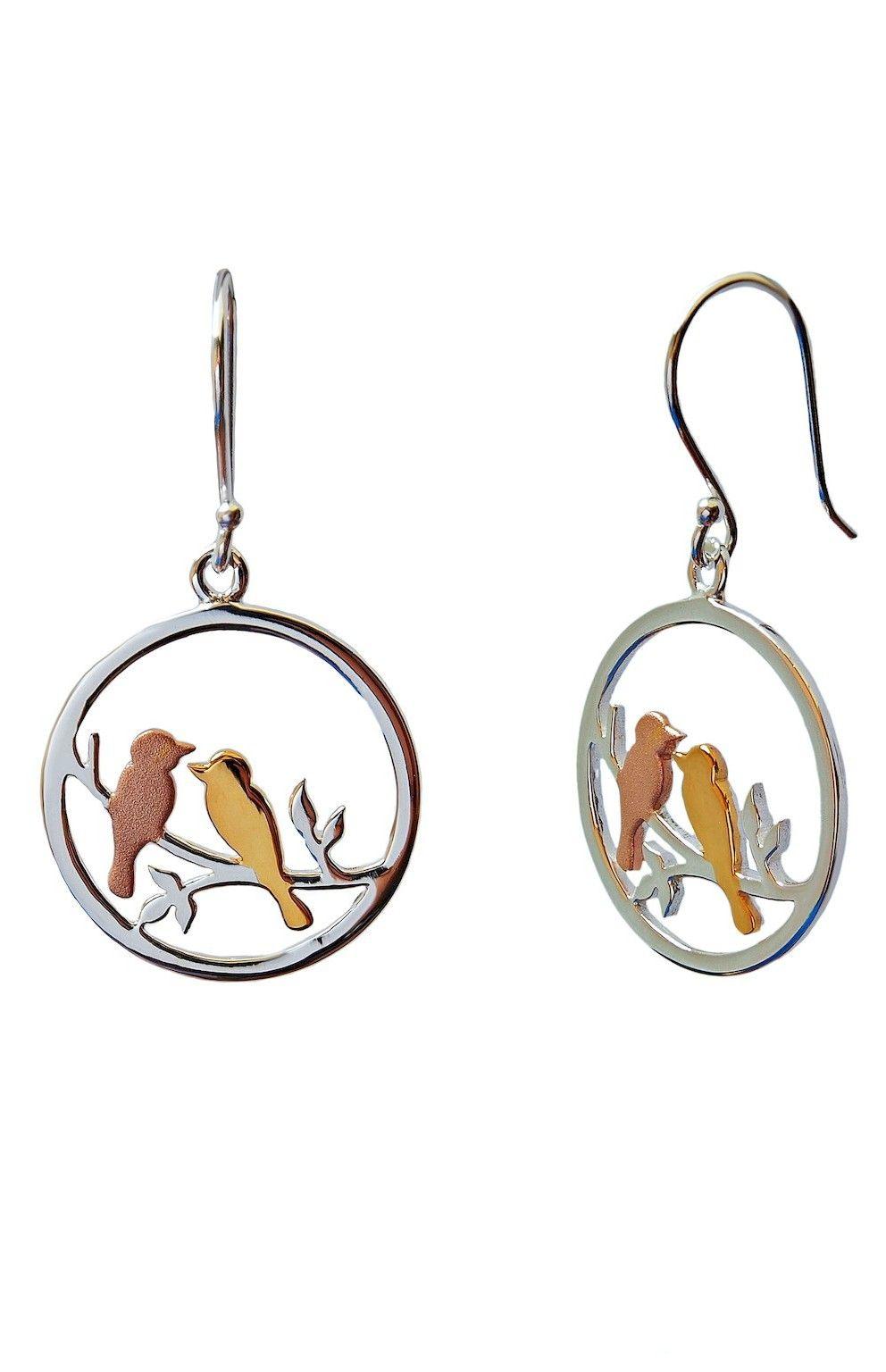 Sterling Silver 925 Yellow and Rose Gold Vermeil Birds on a Tree Earrings u8QWinN