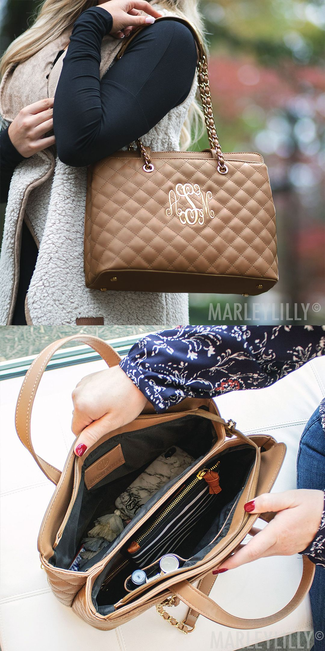 Monogrammed Quilted Chain Handbag With