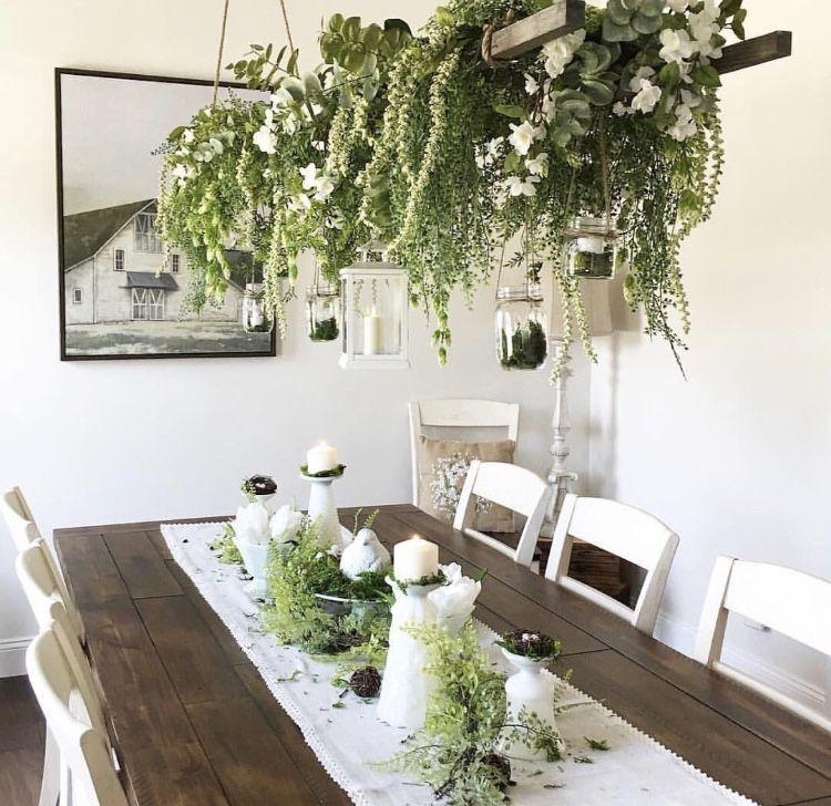 farmhouse plant dining room in 2020 | Diy farmhouse decor ...