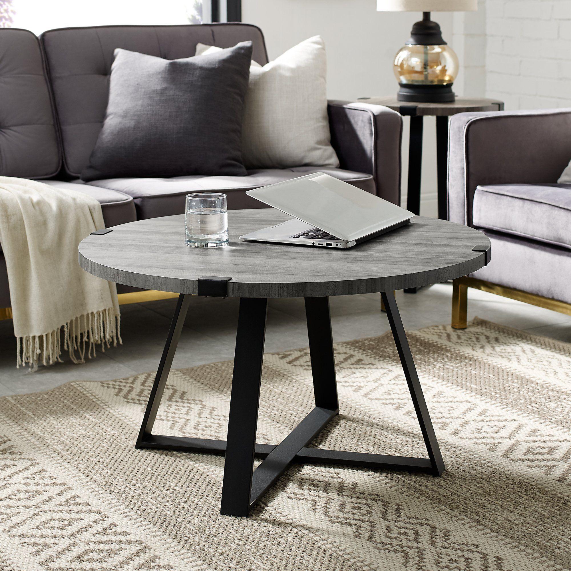 Slate Gray Round Coffee Table Metal Wrap Coffee Table Round Coffee Table Modern Round Coffee Table [ 2000 x 2000 Pixel ]