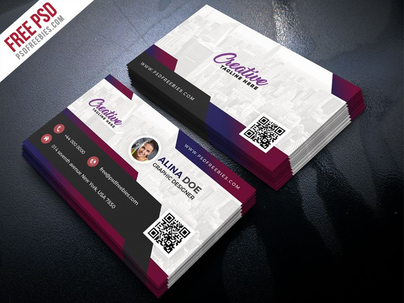 Free Modern Business Card Design PSD | Business cards, Freelance ...