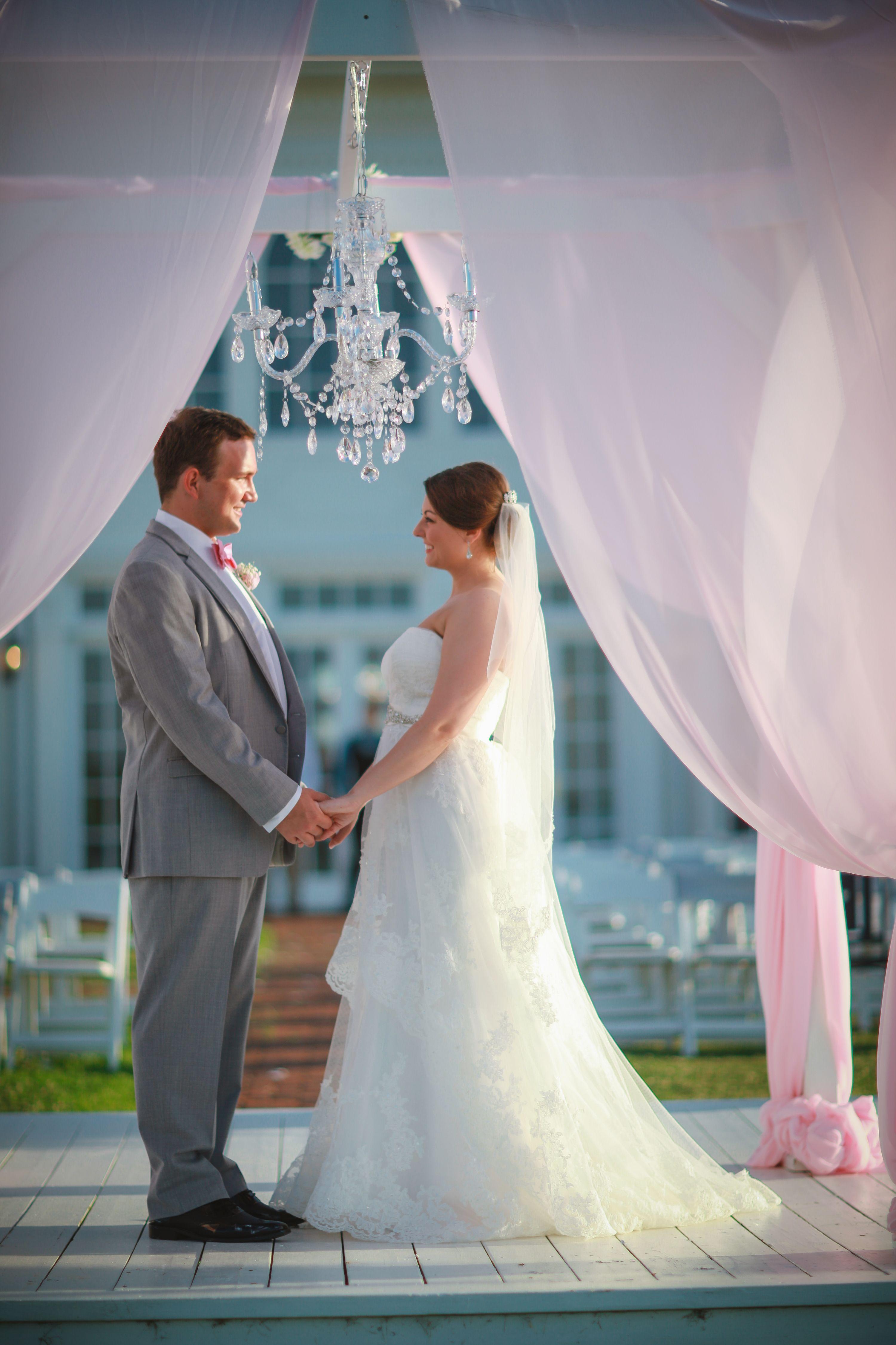 Beautiful Outdoor Wedding Altar | Pink Chiffon | Crystal Chandelier ...