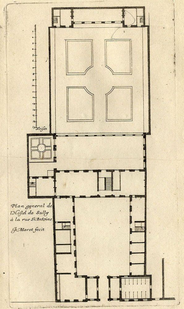 architecture paris h tel de sully marais gravure originale jean marot 17e plan au rez de. Black Bedroom Furniture Sets. Home Design Ideas