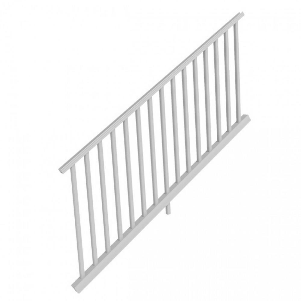 White Resalite Composite 36 in. x 6 ft.Transform Stair Rail Kit with Square Balusters and brackets