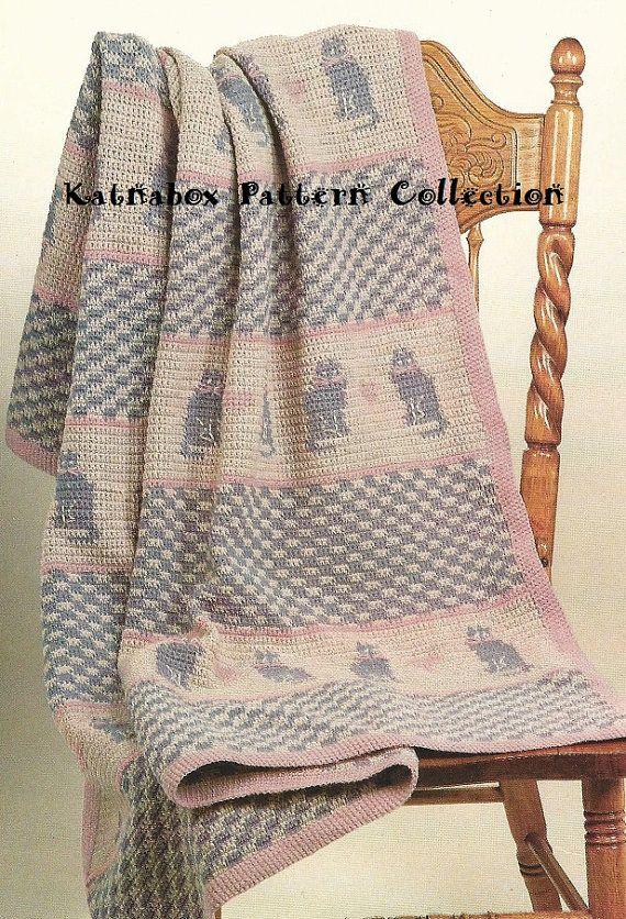 Crochet Country Cats Afghan Pattern #KC0393, Intermediate Skill ...