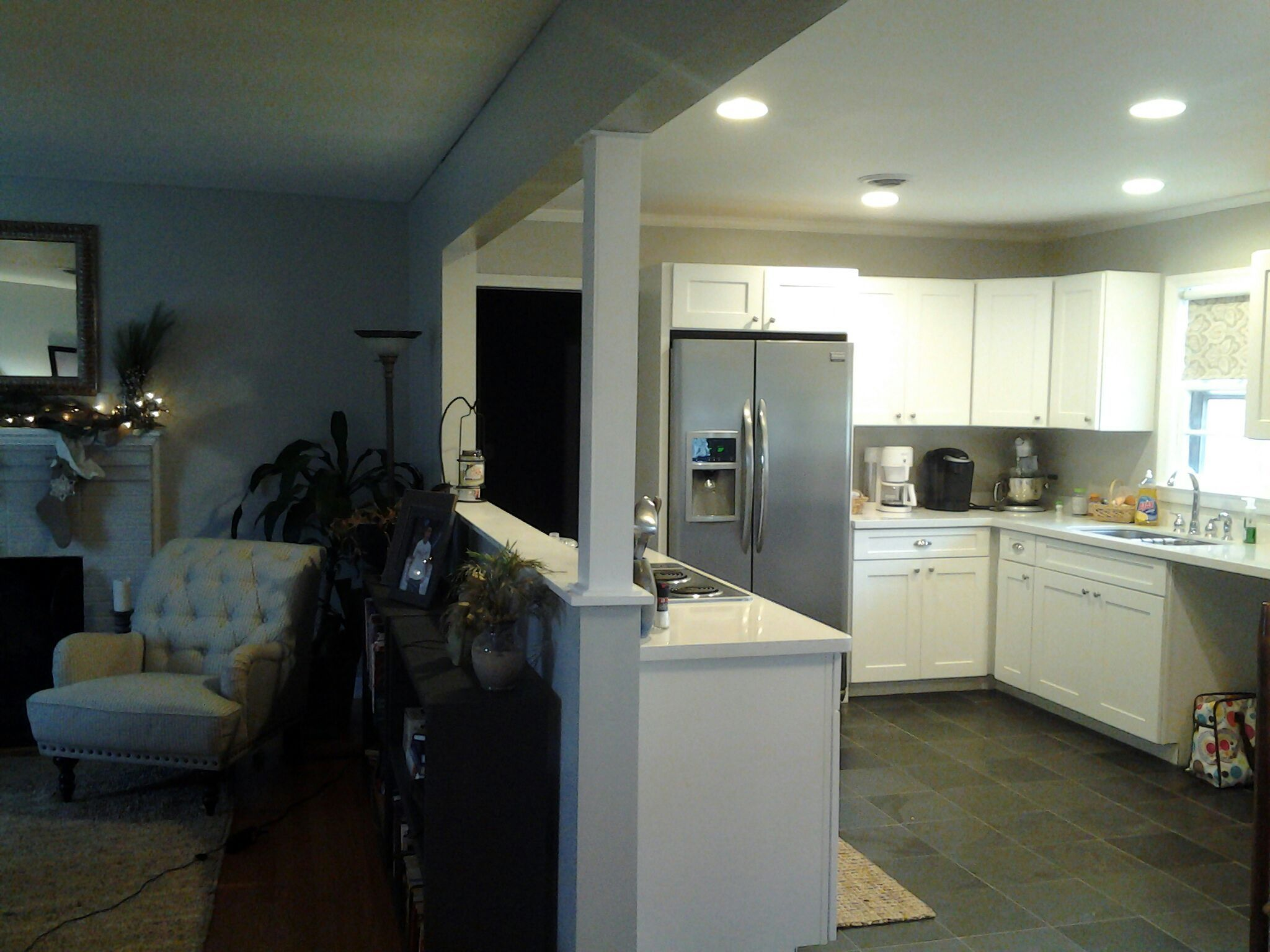 Wall Between Living Room And Kitchen Was Opened Up Engaged Column Added For Open Kitchen And Living Room Open Concept Kitchen Living Room Kitchen Design Open Opening up a wall between kitchen and living room