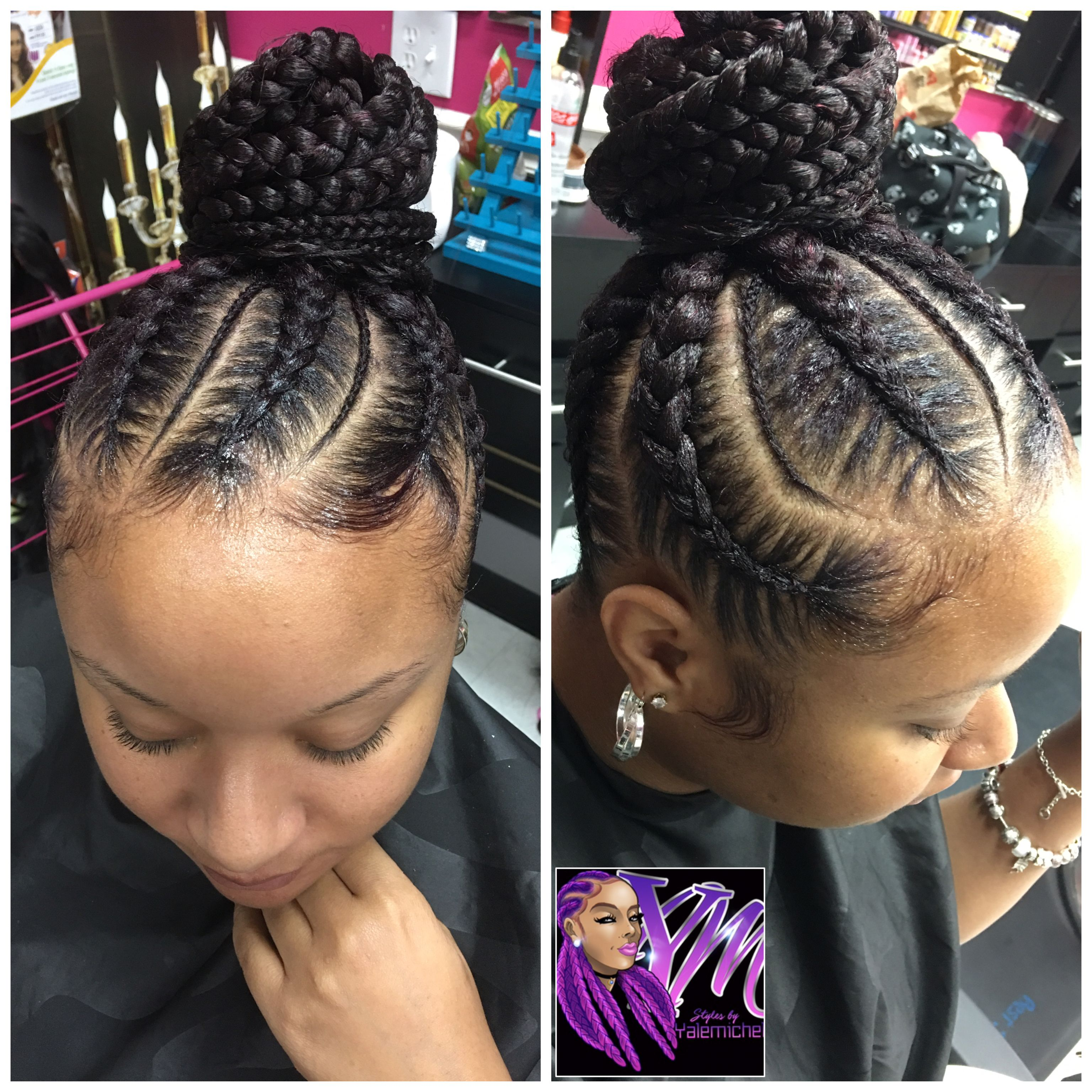 Feed In Braids Bun With Images Feed In Braids Bun Braided Hairstyles Hair Styles