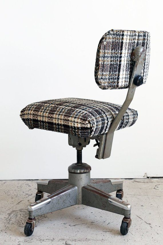 Plaid Chrome Vintage Mid Century Modern Rolling Office Chair Fully Adjule Danish Mode