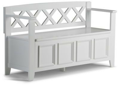 Awe Inspiring Simpli Home Amherst Entryway Bench In White Products Andrewgaddart Wooden Chair Designs For Living Room Andrewgaddartcom