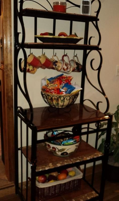 Iron Baker S Rack With Tiled Shelves With Images Bakers Rack