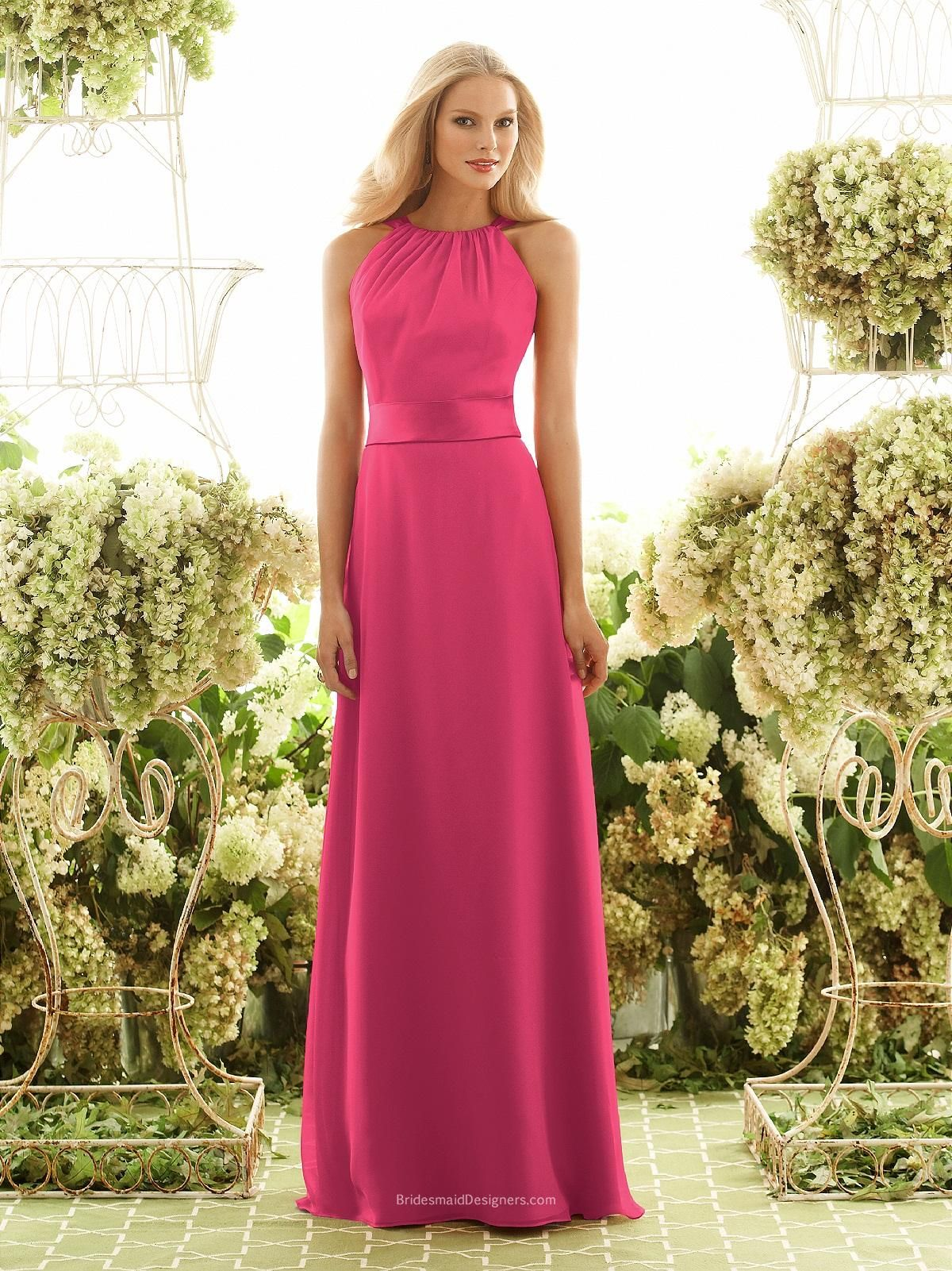 Stunning Fuschia Halter Sleeveless Long Chiffon Bridesmaid Dress With Satin Sash And Bow On Back