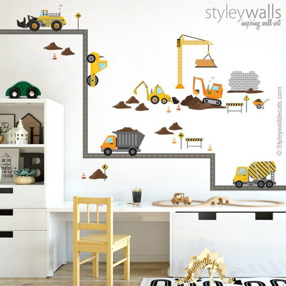 Construction Vehicles Wall Decal, Construction Site Wall ...