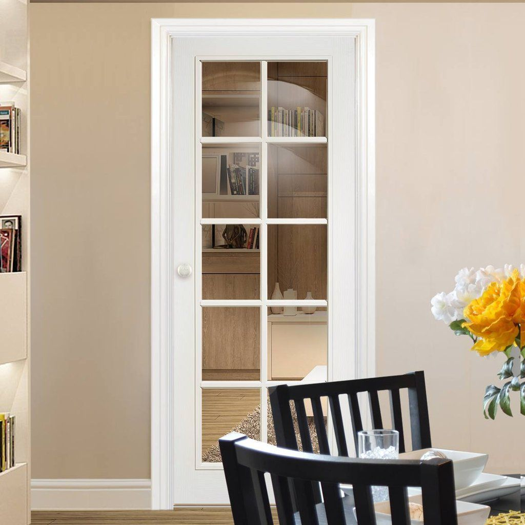 Moulded 10 Pane Door Clear Glass White Primed White Interior Doors Black Interior Doors Interior Glazed Doors