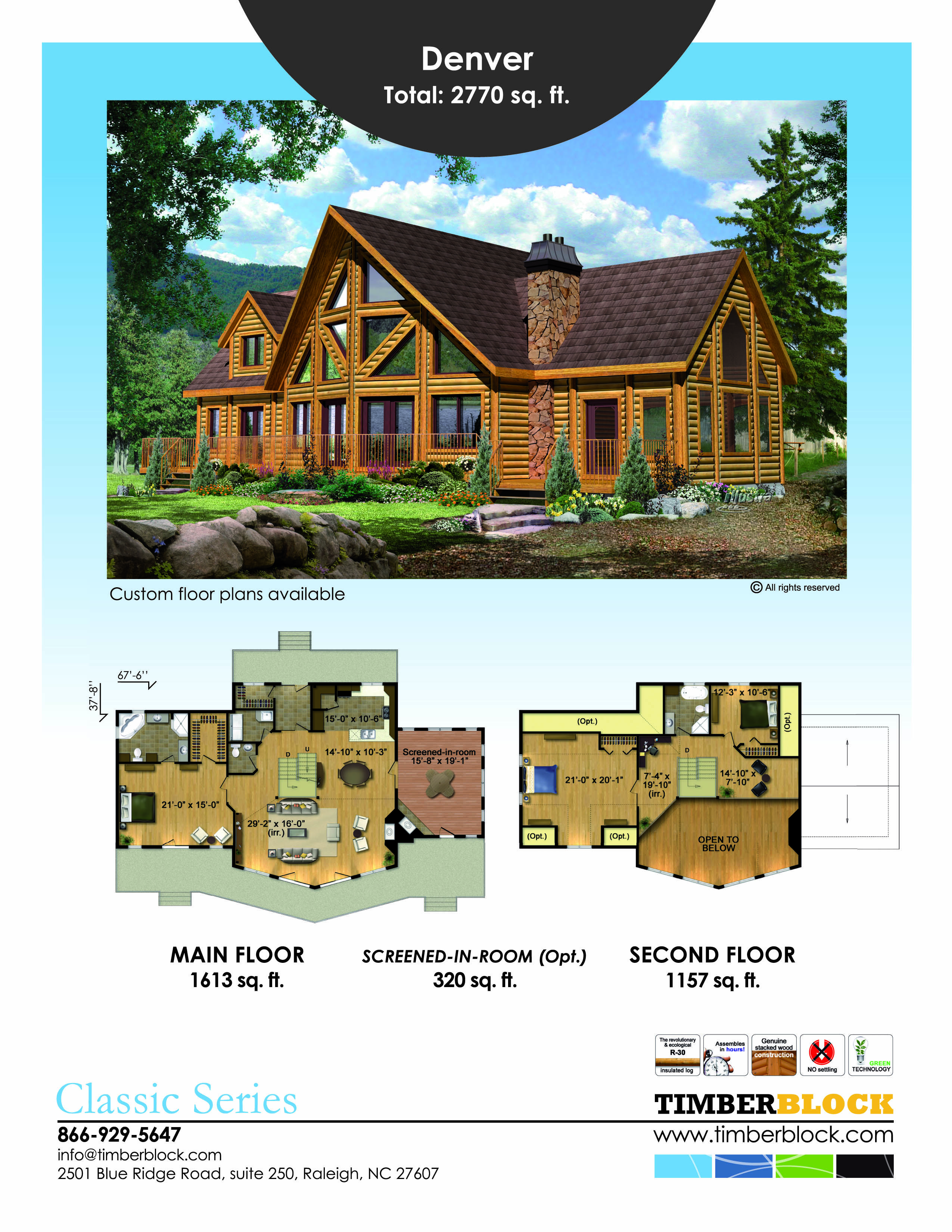 This Is Timber Block S Denver Model From The Classic Series At Over 2700 Square Feet It Has Subst House Plan With Loft Log Home Floor Plans Cabin House Plans