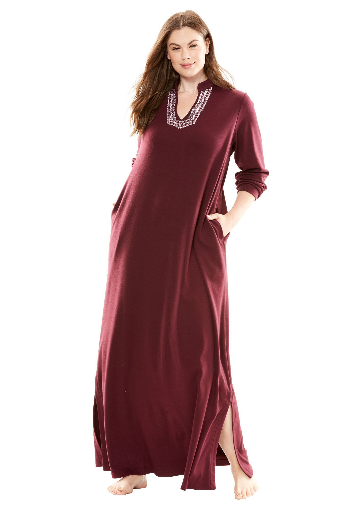4c8c6cac1a Long tag-free lounger by Only Necessities - Women s Plus Size Clothing. Long  Embroidered Knit ...