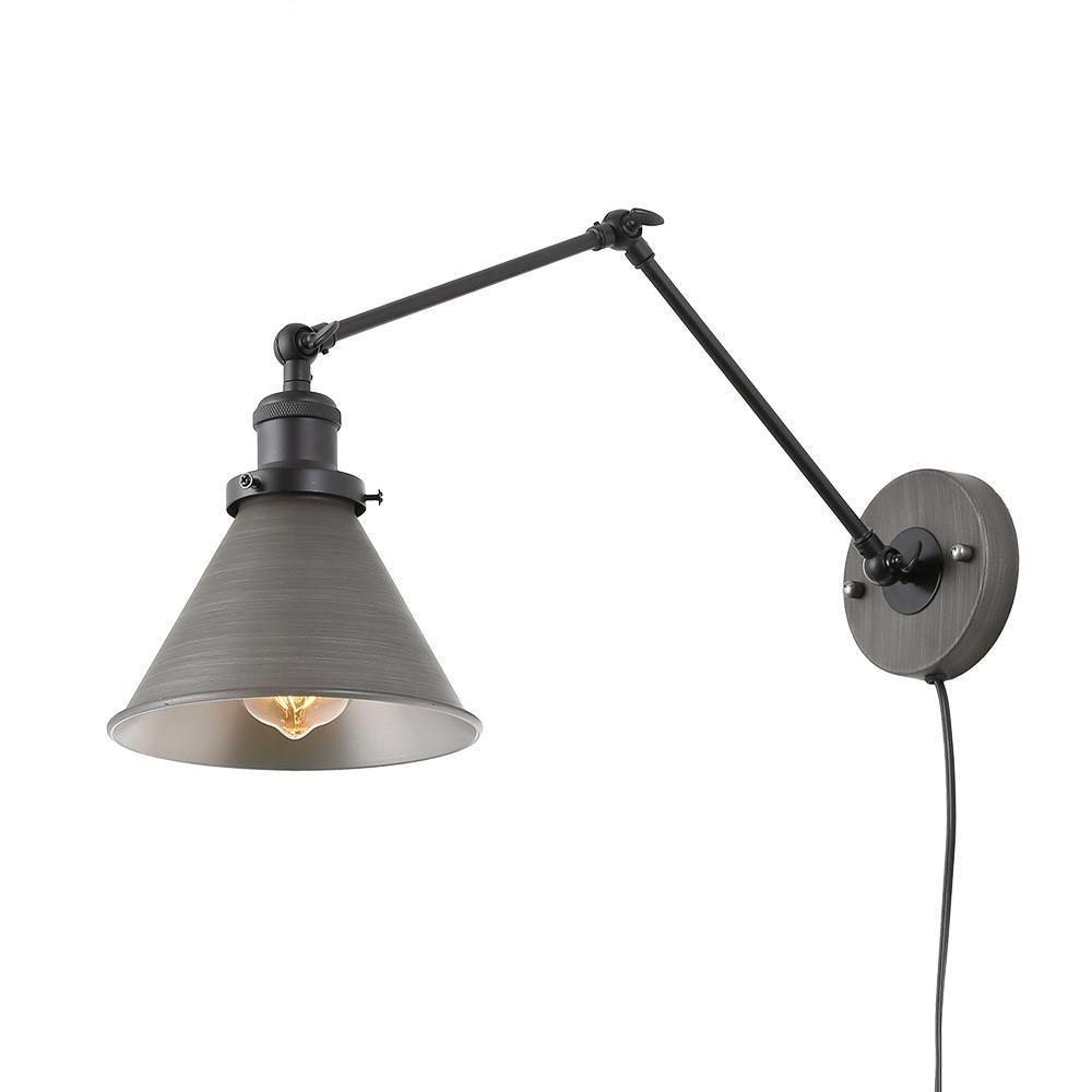 LNC 1-Light Dark Gray Wall Lamp Adjustable Plug-in Wall ...
