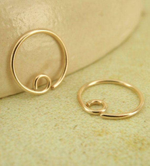 20 gauge Solid 14kt Gold Hoop Earrings - 20mm