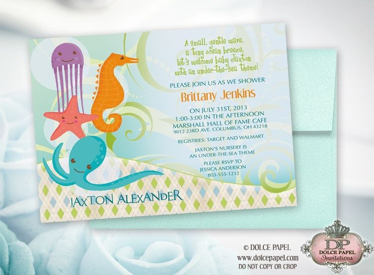 ocean baby shower invitations  under the sea theme baby shower, Baby shower invitation