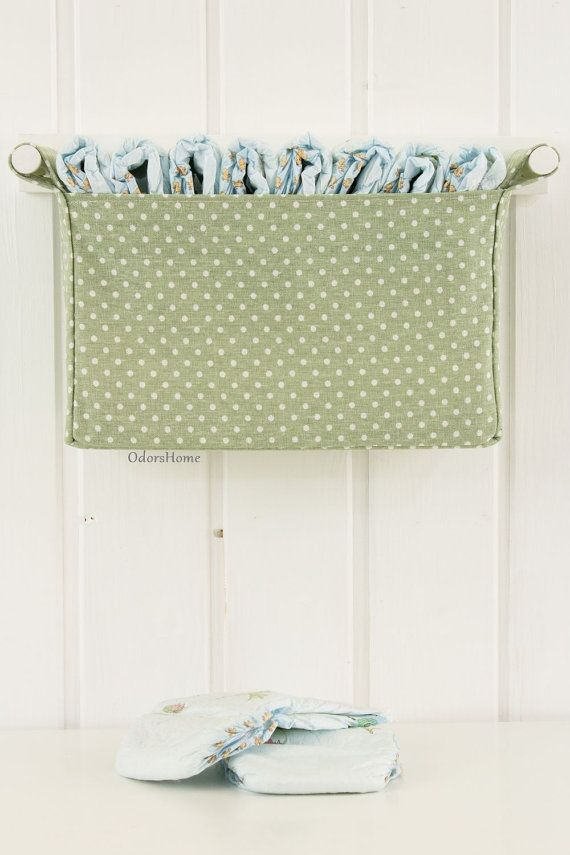 Wall hanging diaper caddy in light olive, dark mint colour, baby ...