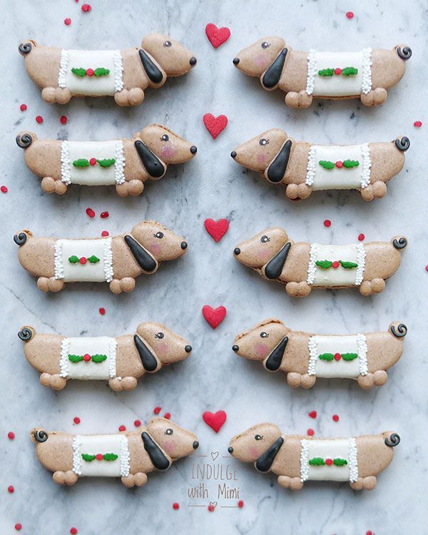 Sweet Gingerbread Dacshund Puppy Dog Macarons Recipe and free - macaron template