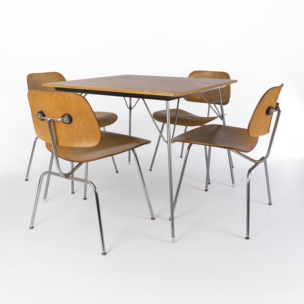 For Sale Original Evans Eames Dtm 20 Table With Eames Calico Ash