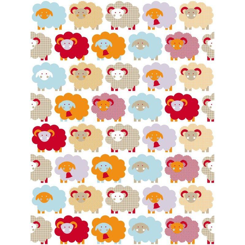 lavmi kinderbehang retro schaapjes oranje rood - behang babykamer, Deco ideeën