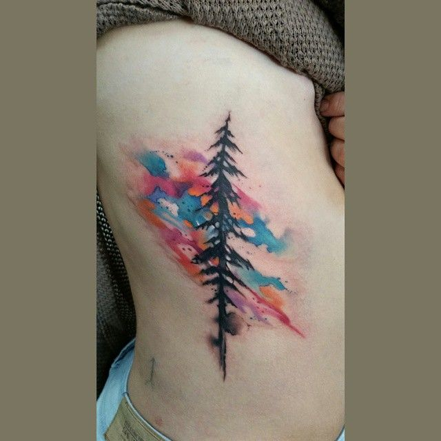 Watercolor And Pine Tree Watercolortattoo Treetattoo