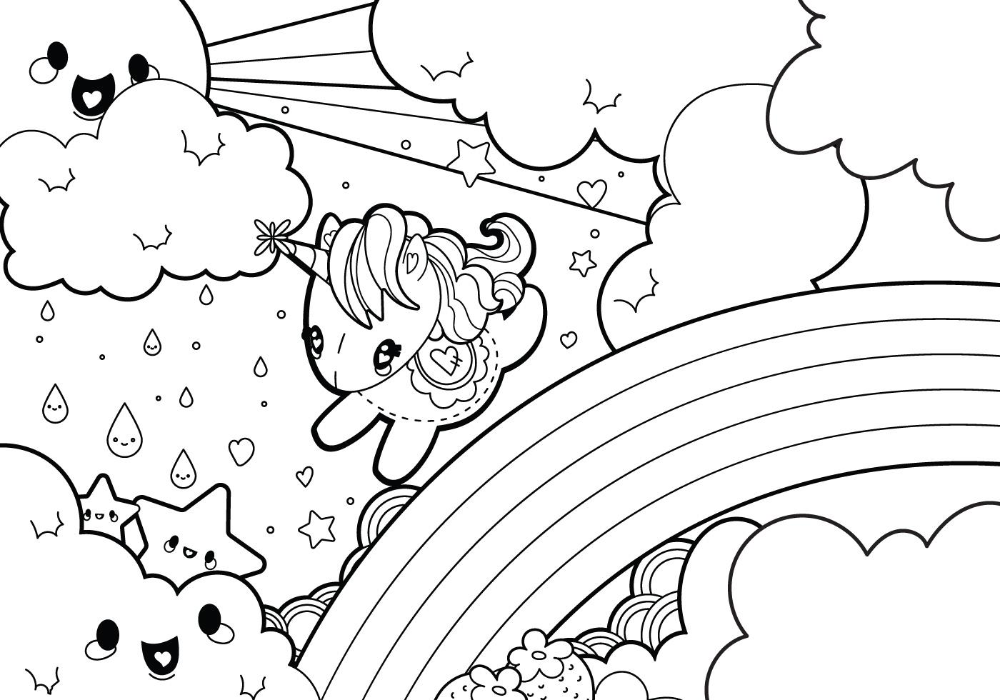 Rainy Rainbow Unicorn Scene Coloring Page Unicorn Coloring Pages Emoji Coloring Pages Cute Coloring Pages