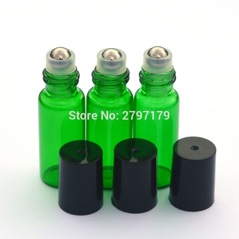 044f987f8ec1 1pcs Green Empty 5ml Refillable Roll Glass Bottle Essential Oil ...