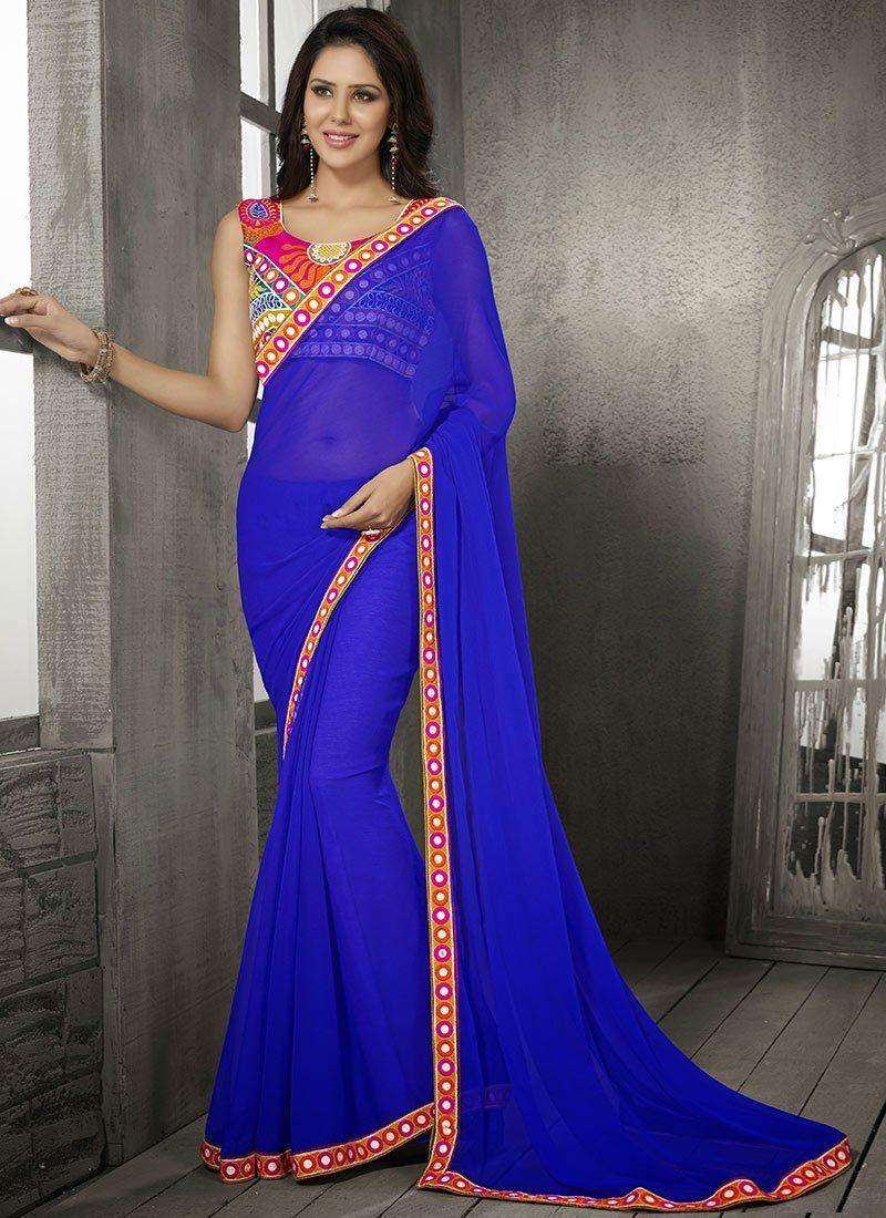 Blue Kutch Embroidered Saree Indian Clothes I Like Saree Indian