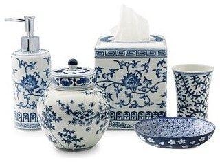 Ming Bath Accessories Blue White, Blue And White Bathroom Accessories